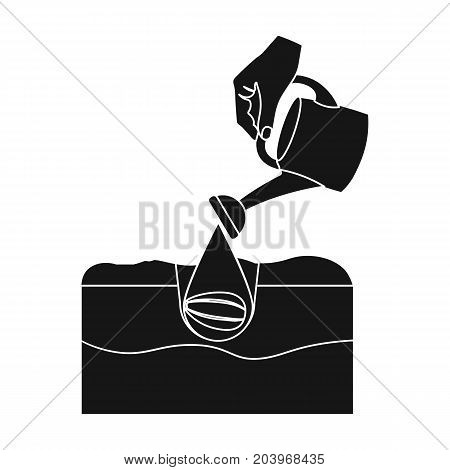 Watering single icon in black style .Watering, vector symbol stock illustration .