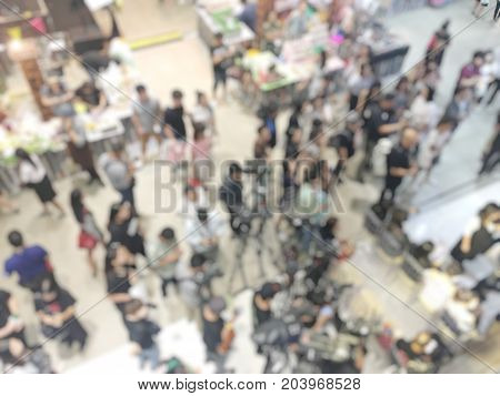 Blurred Image Of Crowd Of People And Production Team, Reporter And Photographer Waiting For Grand Op