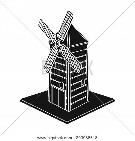 Windmill, single icon in black style.Windmill vector symbol stock illustration .