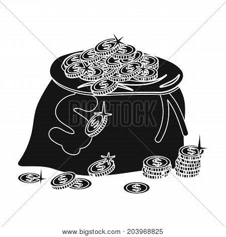 Sack, single icon in black style.Sack, vector symbol stock illustration .