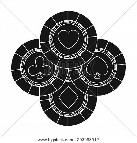 Chips single icon in black style.Chips vector symbol stock illustration .