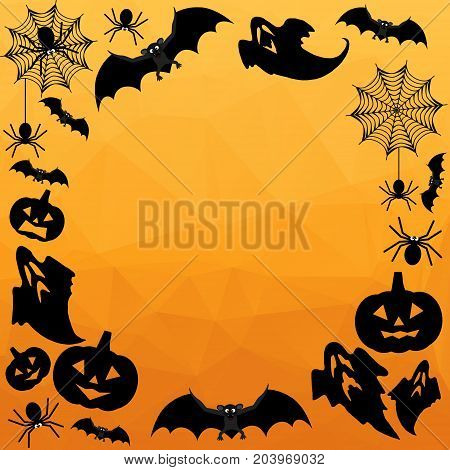 Halloween Background. Vector Halloween orange polygonal mosaic background with bats, ghosts, spiderweb, spiders and pumpkins