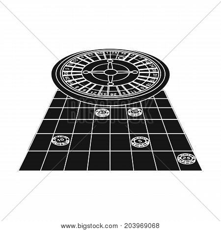 Roulette, single icon in black style.Roulette, vector symbol stock illustration .
