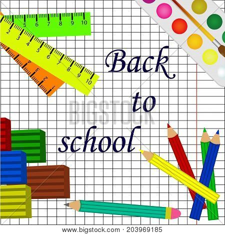 back to school white background with pencils and school tools.