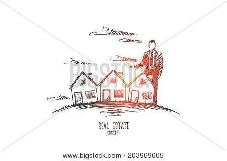 Real estate concept. Hand drawn man near houses. Modern apartments isolated vector illustration.