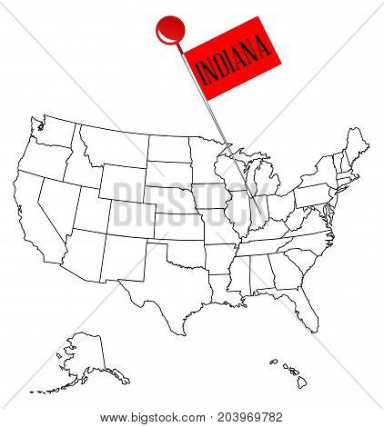 An outline map of USA with a knob pin in the state of Indiana