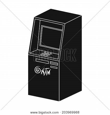 Terminal, ATM for receiving cash. Terminals single icon in black style isometric vector symbol stock illustration .
