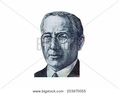 Portrait of Reverend John Flynn from Australian 20 dollar isolated on white background.