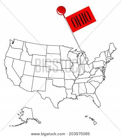 An outline map of USA with a knob pin in the state of Ohio