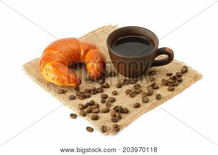 croissant and coffee isolated on white background