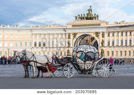ST.PETERSBURG/RUSSIA - JULY 23, 2017. A leisure coach for the entertainment of tourists on the Palace Square of St. Petersburg
