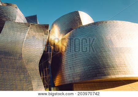 Bilbao, Spain - JULY 2017: Guggenheim Museum Bilbao curved walls in Bilbao city Spain