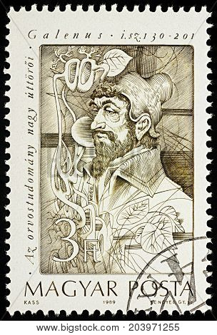 Moscow Russia - September 13 2017: A stamp printed in Hungary shows Claudius Galenus a prominent Greek physician surgeon and philosopher in the Roman Empire series