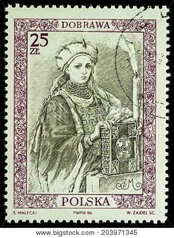 Moscow Russia - September 12 2017: A stamp printed in Poland shows Doubravka of Bohemia Duchess of the Polans series