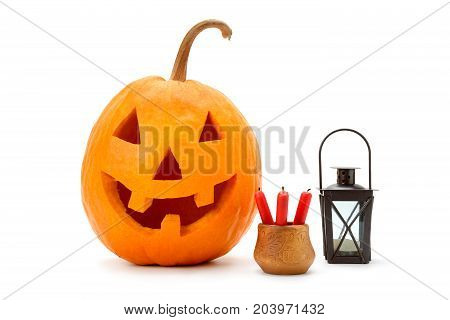 A halloween pumpkin (Jack-o'-lantern) isolated on white background