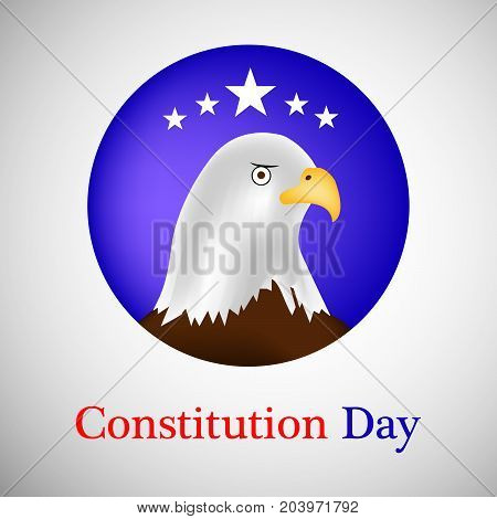 illustration of eagle and stars in circle background with Constitution Day text on the occasion of USA Constitution Day