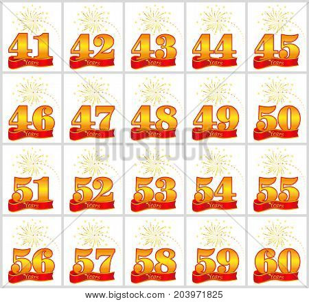 Set Of Gold Numbers From 41 To 60 And The Word Of The Year On The Background Of A Red Ribbon. Vector