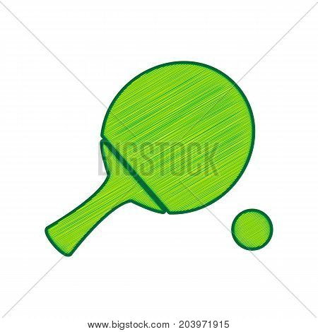 Ping pong paddle with ball. Vector. Lemon scribble icon on white background. Isolated