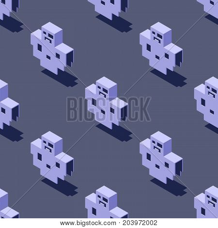 Seamless pattern of cubic ghosts on light gray background. Retro design concept, Clipping mask used.