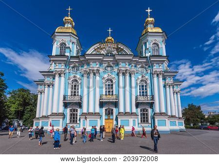 ST.PETERSBURG/RUSSIA - JULY 23, 2017. The Naval Cathedral of St. Nicholas the Wonderworker and Epiphany is the first naval cathedral for the sailors of the Russian fleet.