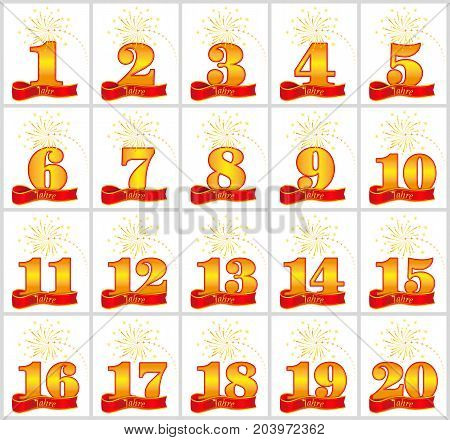 Set Of Gold Numbers From 1 To 20 And The Word Of The Year On The Background Of A Red Ribbon. Vector