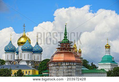 Reconstruction of the Pyatnitskaya tower of the Sergiev Posad monastery (Trinity Lavra of St. Sergius). Sergiev Posad, Golden Ring, Russia