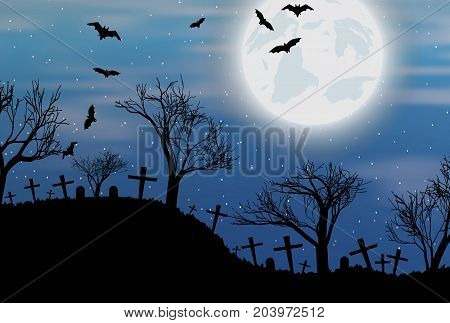 Halloween background with cemetry, bats and big moon. Vector illustration