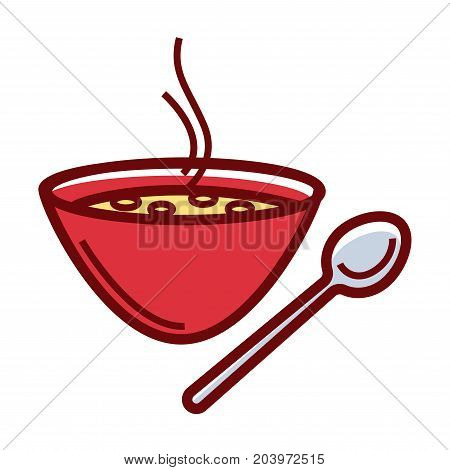Delicious hot soup in deep red bowl with metal spoon isolated cartoon flat vector illustration on white background. Exquisite Italian cuisine dish. Nutritious liquid meal in simple dishware.