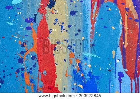 Multicolored vivid and textured gouache abstract background. Horizontal