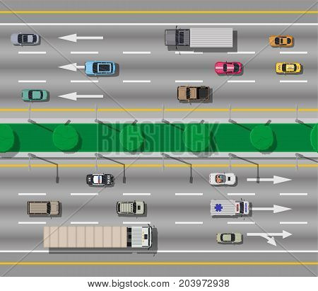 Collection of various vehicles on road. Roadster, taxi, police SUV, ambulance, sedan, truck. Car for transportation, cargo and emergency services. Highway top view. Vector illustration in flat style
