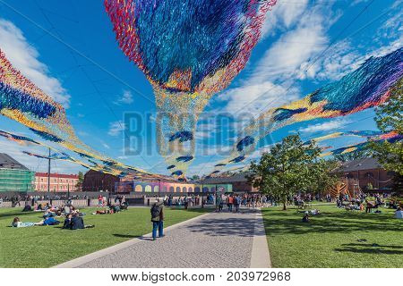 ST.PETERSBURG/RUSSIA - JULY 23, 2017. Residents and visitors of the city rest in the park New Holland