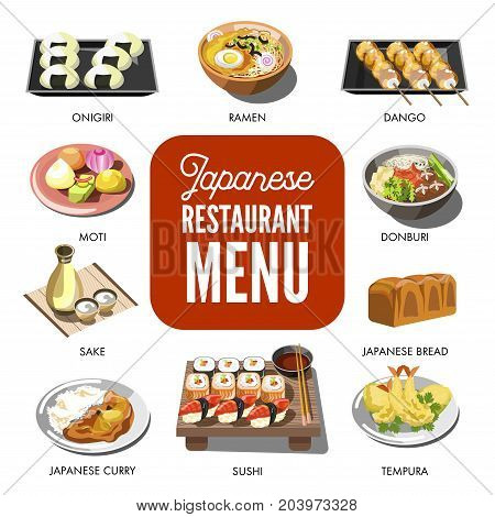 Japanese cuisine traditional dishes of ramen and udon donburi noodles, onigiri seafood tempura sushi rolls, miso soup and sake vodka drink. Traditional Japan restaurant menu vector icons