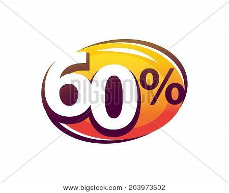 bold sixty percent within a modern oval shape, illustration design, isolated on white background.