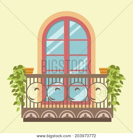 House window and ornate steel balcony in retro classic old style. Glass frame window with shutters shades with flower plant pots of modern, old and ancient apartments. Vector isolated flat icon