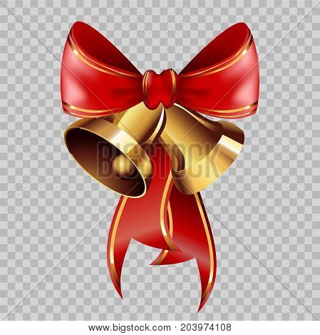 Christmas decoration golden jingle bells on red ribbon bow with golden ornament on transparent background. Vector isolated decorative element template for Christmas or New Year greeting card design