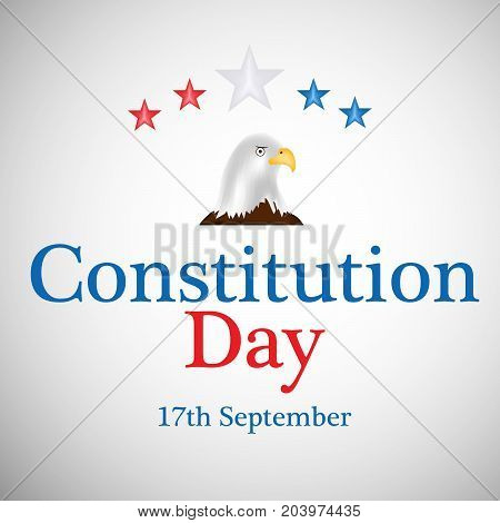 illustration of eagle and stars with Constitution Day 17 spetember text on the occasion of USA Constitution Day
