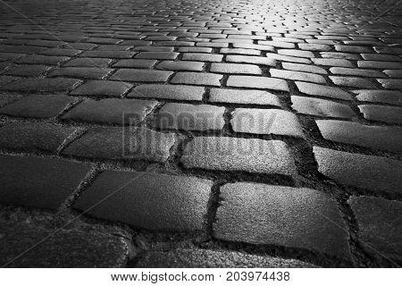 Old Pavement. Old gray pavement close b/w