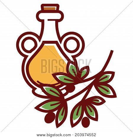 Natural olive oil in glass bottle with handles and cork isolated cartoon vector illustration on white background. Branch with green leaves and small black fruits. Liquid healthy seasoning for salads.