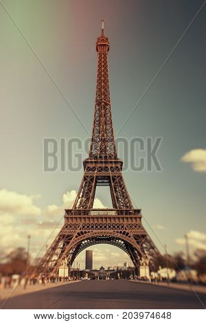 Eiffel Tower in vintage style. France. Paris