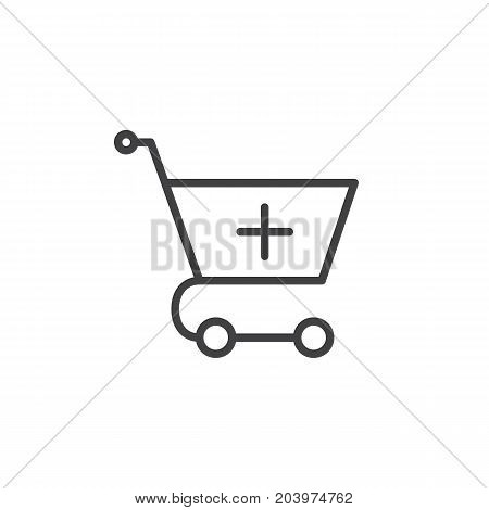 Add to shopping cart line icon, outline vector sign, linear style pictogram isolated on white. Symbol, logo illustration. Editable stroke. Pixel perfect vector graphics