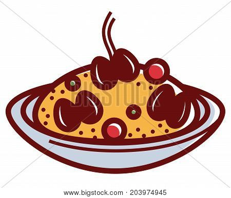 Hot Mediterranean risotto in deep bowl isolated cartoon flat vector illustration on white background. Boiled in broth rice of high quality with fresh delicious mussels and natural aromatic spices.