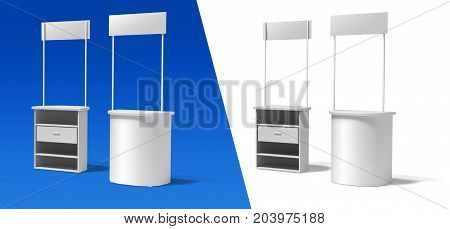 Blank semicircular promotion stands on a white and blue background. front and back.3d illustration template BTL below-the-line .