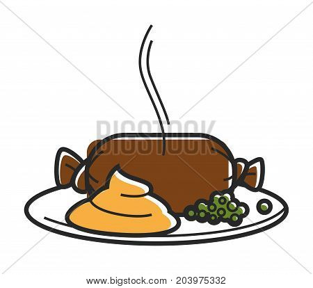 Hot pate in oblong transparent pack, squash caviar and green peas on simple plate isolated cartoon flat vector illustration on white background. Homemade tasty healthy freshly cooked food with steam.