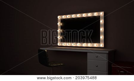 Large makeup room mirror with lights around the perimeter