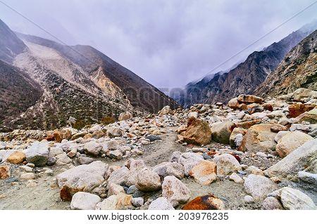 Cloudy sky in Himalaya mountains. Gaumukh glacier Gangotri Uttarakhand India.