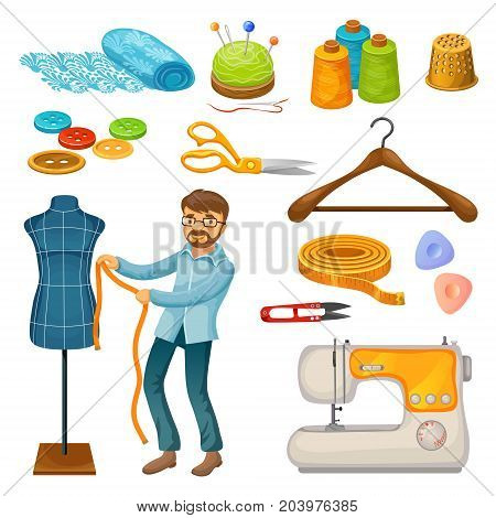 Colorful tailor tools set with master silk hanger sewing machine scissors button spools thimble meter needles mannequin isolated vector illustration