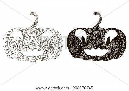 Monochrome ornamental pumpkin silhouettes on white background stock vector illustration