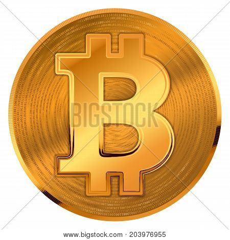 Crypto currency golden coin with bitcoin symbol and number zero and one on background coin. Vector illustration.