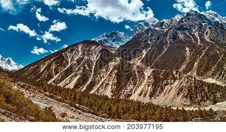 Himalayas mountain landscape. Panoramic view of Himalaya peaks. Gangotri glacier Gaumukh India.