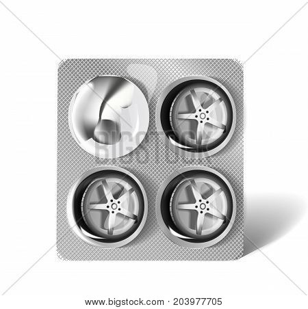 Blister with four wheels from vehicle on a white background. Vector illustration.